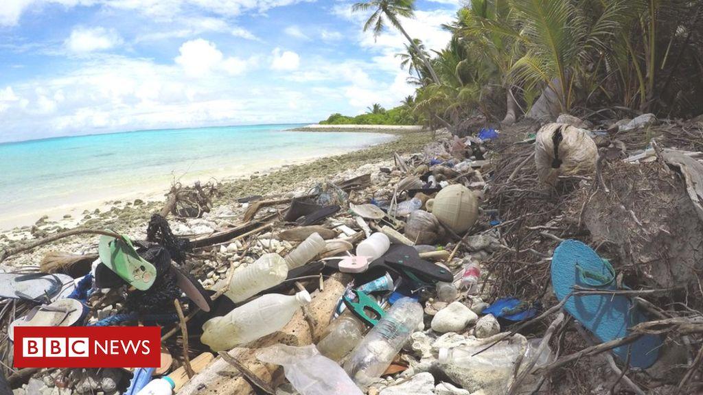 Tide of plastic flip-flops engulfs island