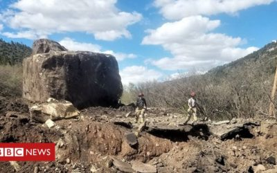 Boulders 'the size of a building' hit US road