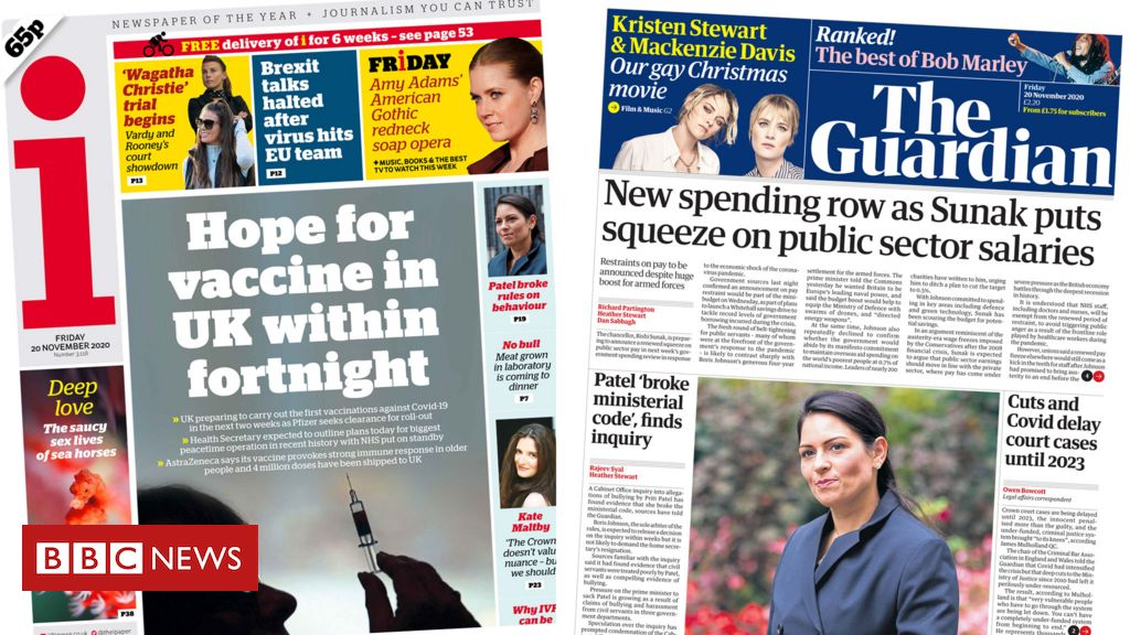 The Papers: Covid 'jab joy' and public sector pay 'blow'