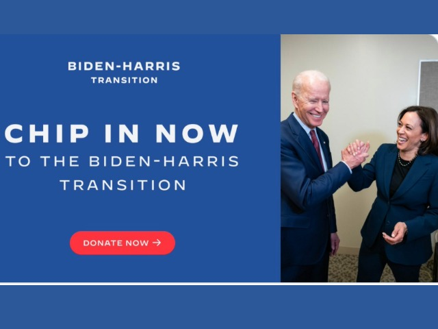 Biden Crowdsourcing Money for Transition as Standoff with Trump Continues
