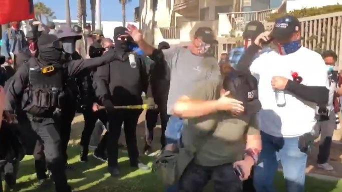 Trump supporters, counter-protesters clash in San Diego...