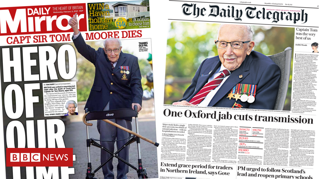 The Papers: Salutes to 'hero' Capt Tom and 'game-changer' jab