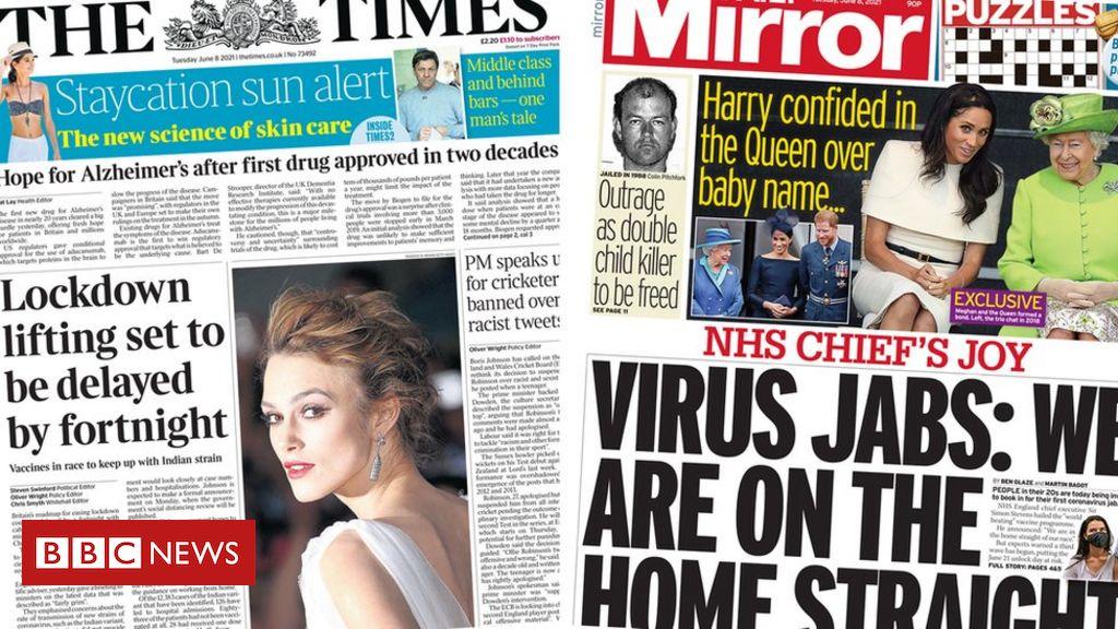 Newspaper headlines: 21 June lockdown easing date 'to be delayed'