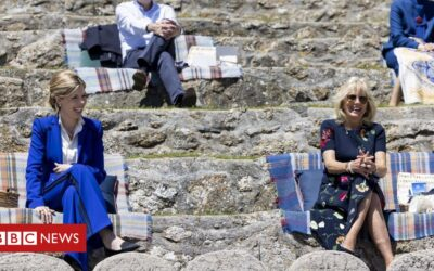 Children perform for G7 leaders' partners at Minack Theatre