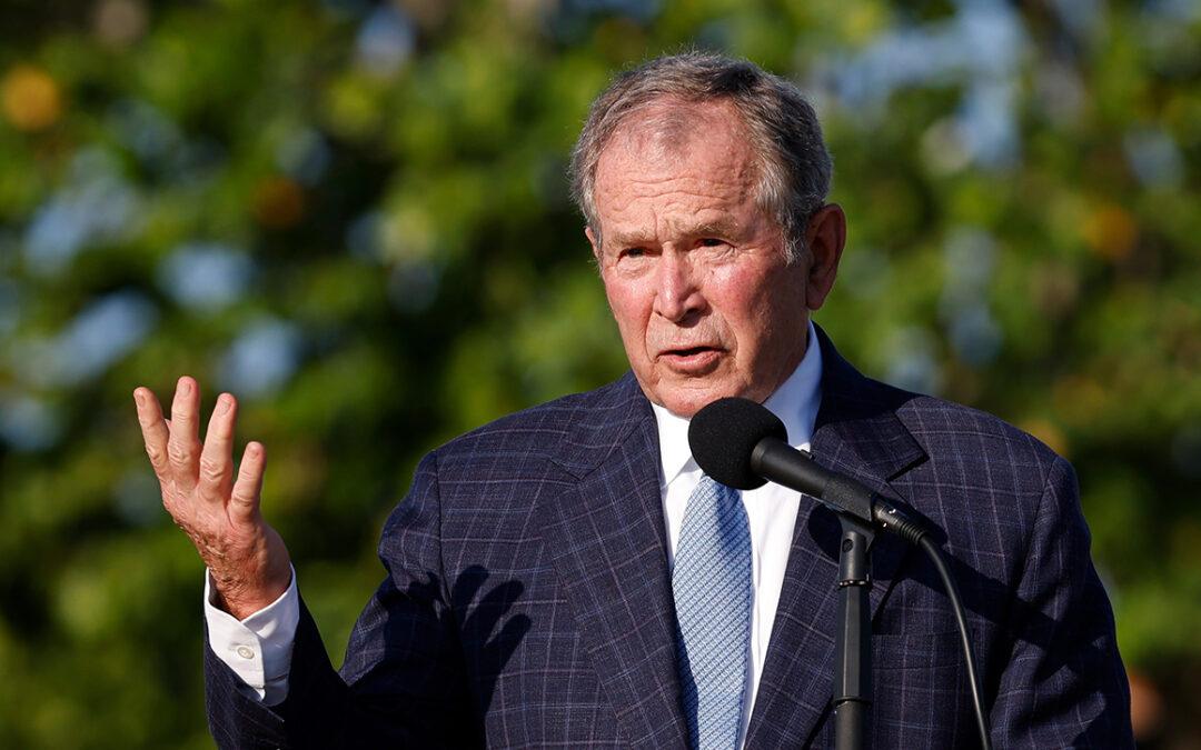 Bush slams Afghanistan withdrawal...
