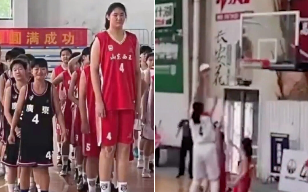 7-foot-4 Chinese teen girl dominating on the court...