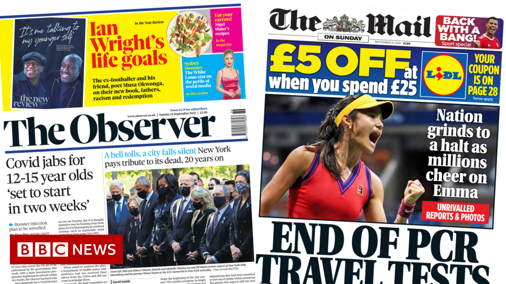 The Papers: Jabs at school in two weeks and travel tests axed