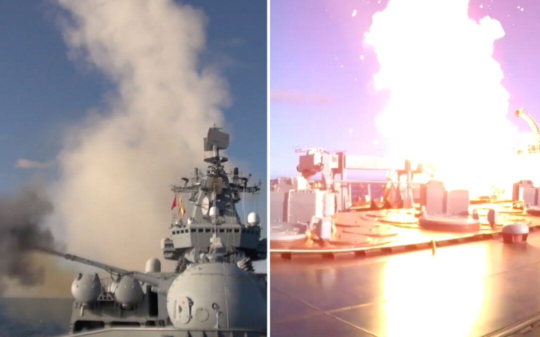 Russian warships fire missiles in massive show of strength...